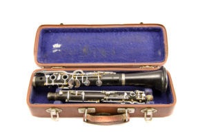 Old clarinet in case