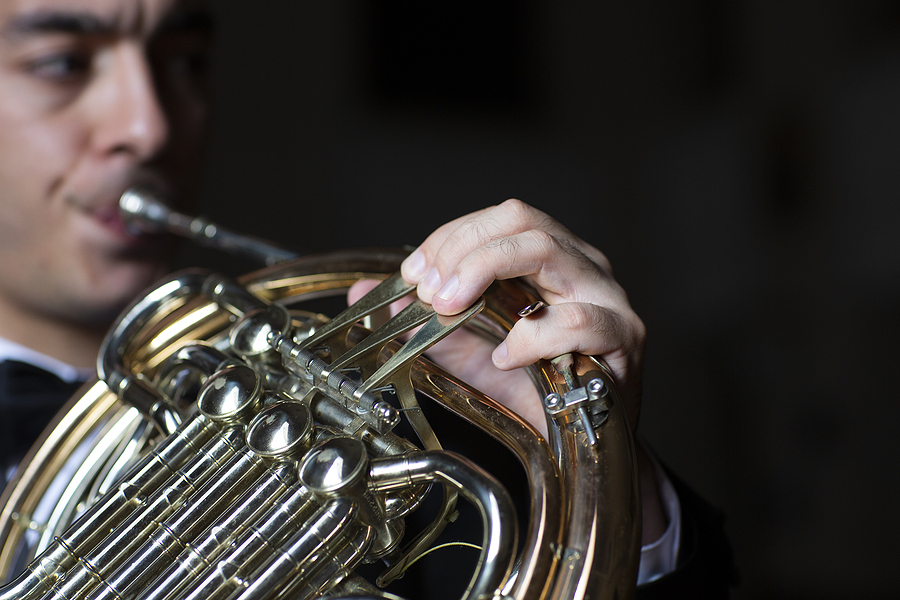 concert french horn player on black