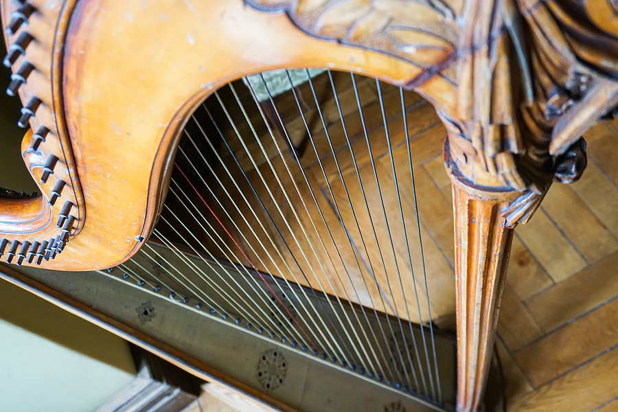 looking down on an old wooden harp