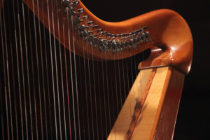 harp, angle view of strings